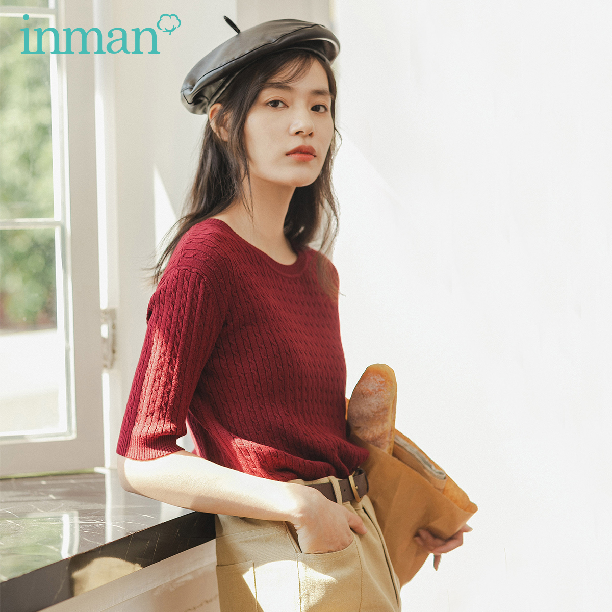 INMAN 2020 Spring New Arrival Literary France Round Collar Knit Wear Women Solid Color Pullover Sweater