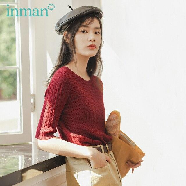 Inman 2020 primavera nova chegada literária frança gola redonda tricô wear feminino cor sólida pulôver camisola