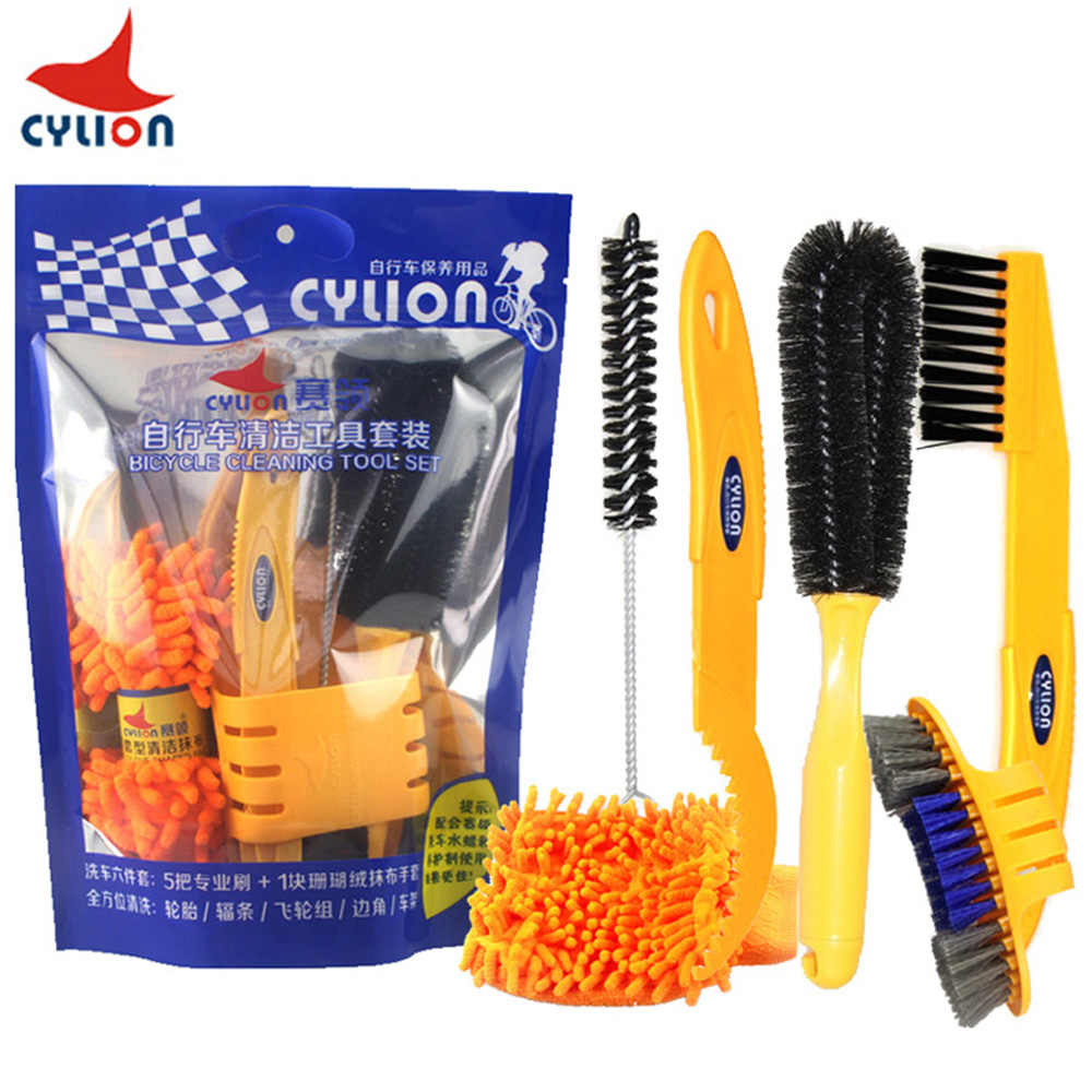 6Pc Bicycle Cleaning Brush Gloves Tool Kit Set Bike Chain Cleaner Glove Outdoors