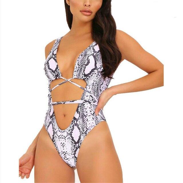 Lato nowe seksowne kobiety jednoczęściowy serpentyn nadruk wzór lamparta Monokini bandaż strój kąpielowy Push Up usztywniane Bikini stroje kąpielowe