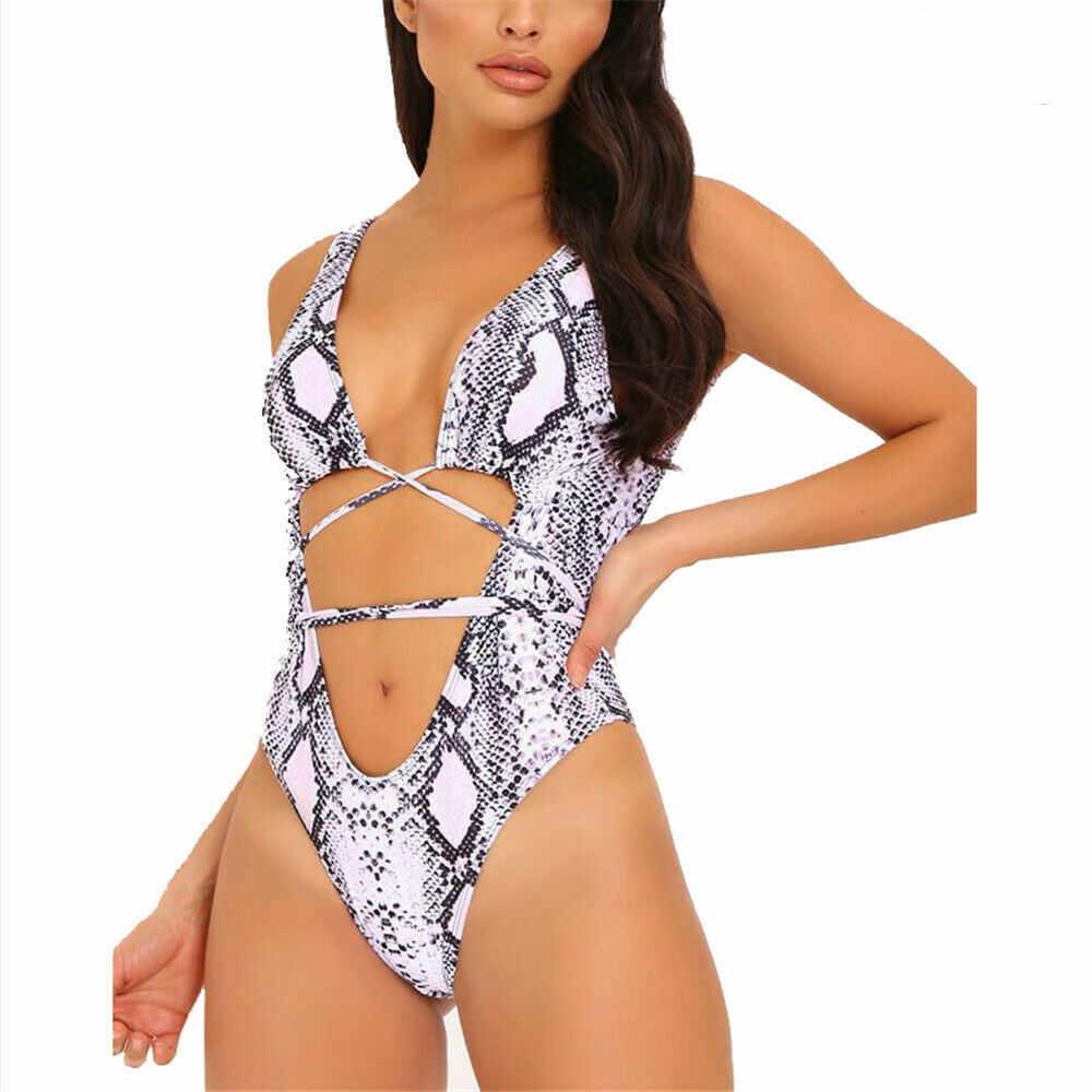 Yaz yeni seksi kadınlar tek parça serpantin leopar baskılı Monokini bandaj mayo Push Up yastıklı Bikini mayo mayo