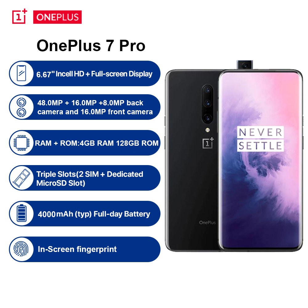 <font><b>OnePlus</b></font> 7 Pro 4G <font><b>Smartphone</b></font> <font><b>6</b></font>.67 inch Android 9.0 Snapdragon 855 Octa Core <font><b>6</b></font>+128GB ROM 48.0MP+16.0MP+8.0MP Camera Mobile Phone image