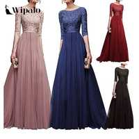 Wipalo Women Plus Size 5XL Three Quarter Sleeve Lace Long Evening Party Dress Fit And Flare Solid Maxi Dress Robe Femme Vestidos