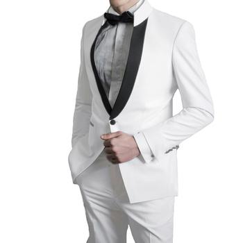 Białe garnitury męskie na ślubne garnitury dla pana młodego męskie garnitury dla drużby garnitury imprezowe garnitury ślubne garnitury na kolację dwuczęściowe garnitury (kurtka + spodnie) tanie i dobre opinie Caterinasara COTTON Poliester Groom wear REGULAR Mieszkanie Zipper fly Pojedyncze piersi Groom Suit Skośnym