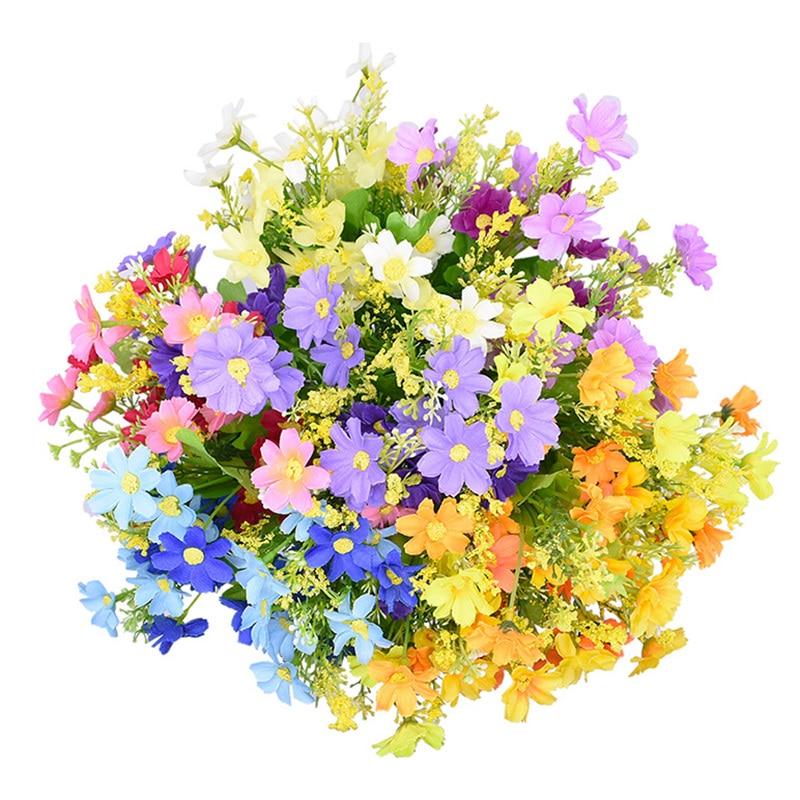 1Bouquet 28 Heads Daisy Artificial Flower Bouquet for Home Garden Decoration DIY Party Wedding Flowers Bridal Silk Fake Flower|Artificial & Dried Flowers| - AliExpress