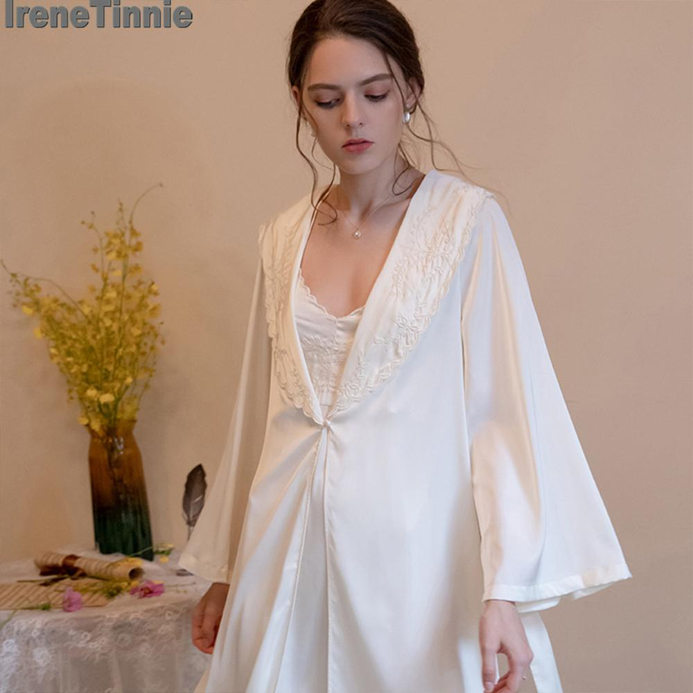 IRENE TINNIE Fashion  Exquisite Embroidery Long-Sleeved Nightgown Suspender Nightdress Silk Sexy Home Service 2pcs пижама pijama