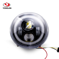Black LED headlight with halo For Vespa GTS 300 Motorcycle