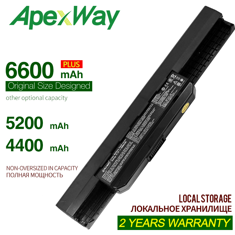 Apexway 6C 11.1V 6600mAh A32-K53 Laptop Battery For Asus A43 A43E A53S K43E K43U K43S K43SJ K53 K53T K53S K53SV X54 X54H X44H