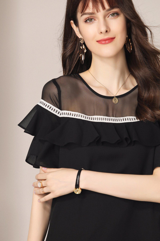 2019 Новое высококачественное крутое летнее платье средней длины с круглым вырезом, гофрированное ТРАПЕЦИЕВИДНОЕ ПЛАТЬЕ свободного кроя, роскошное Брендовое платье - 6