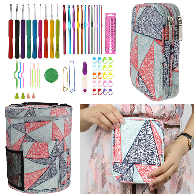 Geometric Style Storage Bag With Crochet Hook Set For DIY Weave Clothes Empty Yarn Bag For Crochet Hooks And Knitting Needles-in DIY Knitting from Home & Garden