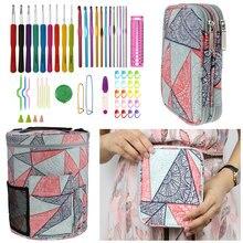Geometrische Stil Lagerung Tasche Mit Häkeln Haken Set Für DIY Weben Kleidung Leere Garn Tasche Für Häkeln Haken Und Stricken nadeln
