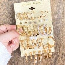 VKME Fashion Set di orecchini di perle in oro per donna orecchini a cerchio in metallo Vintage orecchini a cerchio geometrico orecchini 2021 gioielli