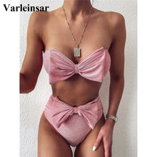 Bow Strapless High Waist Bikini 2020 Female Swimsuit Women Swimwear Two-pieces Bikini set Bandeau Bather Bathing Suit Swim V2172