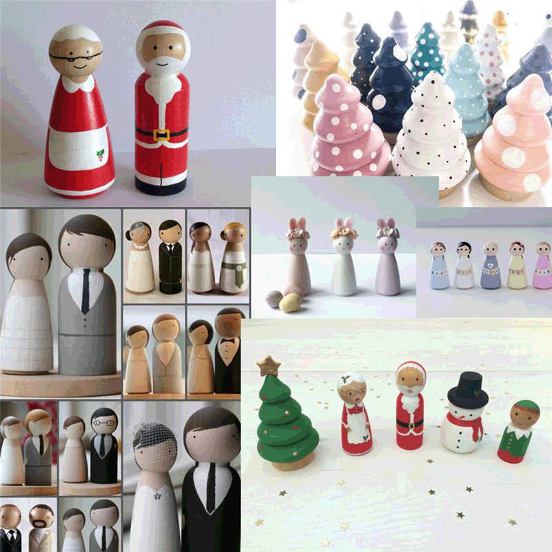 Wooden People Craft Art Projects Family DIY Crafts Wedding Party Decor Unfinished Wooden Peg Dolls 67mm Hat 10 Pieces Wooden Decorative DIY Doll People Shapes Nature Wooden for Kids Painting