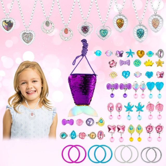 62Pcs Jewelry Accessories Princess Jewelry Pretend Dress Up Necklaces Rings Earrings Jewelry Sets for a Beautiful Girls 1