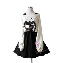 Black Comic Rabbit Lolita Dress Japanese Teens Kawaii Girls 2pcs Set Sweet Cotton Dress Short Cute Bunny Print Long Sleeves Set