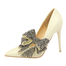 Brand Rhinestone Butterfly-Knot Shoes Woman Extreme High Heels Wedding Shoes Pumps Famous Shoes Sexy Pointed Toe Heels G0087 czrbt woman shoes famous brand crystal 100