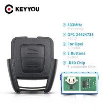 Keyyou Voor Opel 2 Knoppen 433Mhz Fob Afstandsbediening Auto Sleutel Voor Opel Vauxhall Vectra Zafira OP1 24424723 ID40 Chip