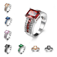 Creative Female Colorful Zircon Crystal Ring Fashion Wedding Jewelry Promise Engagement Rings For Women Gifts