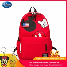 Disney 2019 New Mickey Schoolbag Polyester American Flag Teenager Backpack Young People Backpack School Bag for Boys and Girls