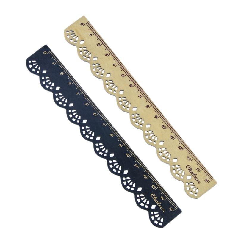 2 Pcs Beautiful Stylish Korea Stationery Lace Wood Ruler Sewing Ruler Office School Supplies