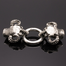 5pcs Antique skull head brooch and bracelet closed connector for making DIY leather rope bracelet, internal size 9mm