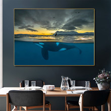 Killer Whale In Polar Night Cetacean Canvas Painting Posters and Prints Wall Art Picture for Living Room Home Decoration Cuadros