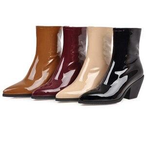 Image 2 - ¡Novedad! SARAIRIS botines de talla grande, 31 46, color negro, charol Pu, botines de moda para mujer, Botines Chelsea, botas para mujer 2020, zapatos de tacón alto para mujer