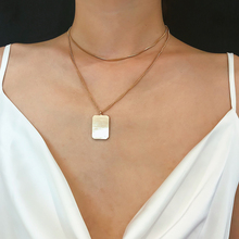 SalirCon Fashion Simple Geometric Choker Necklace Alloy Sexy Gold Silver Copper Chain Square Pendant Women Jewelry Gift