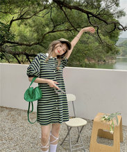 Casual Striped Single-breasted Dress Female 2021 Summer POLO Collar Puffy Sleeve Straight Dress Korean Chic Casual