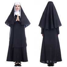 Medieval Cosplay Clothing-Set Priest Nun-Costumes Party-Performance Halloween Black Monastery