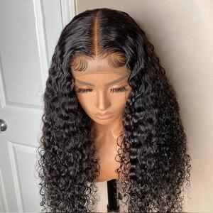 Парик из натуральных волос с волнистыми волосами для черных женщин, парик из натуральных волос 4x4, парик из бразильских волос на сетке, парик...