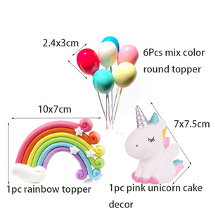 Image 5 - Rainbow Cake Toppers Birthday Party Decoration Kids Cupcake Toppers Cloud Egg Balloon Cake Flags Party Cake Decoration Unicorn