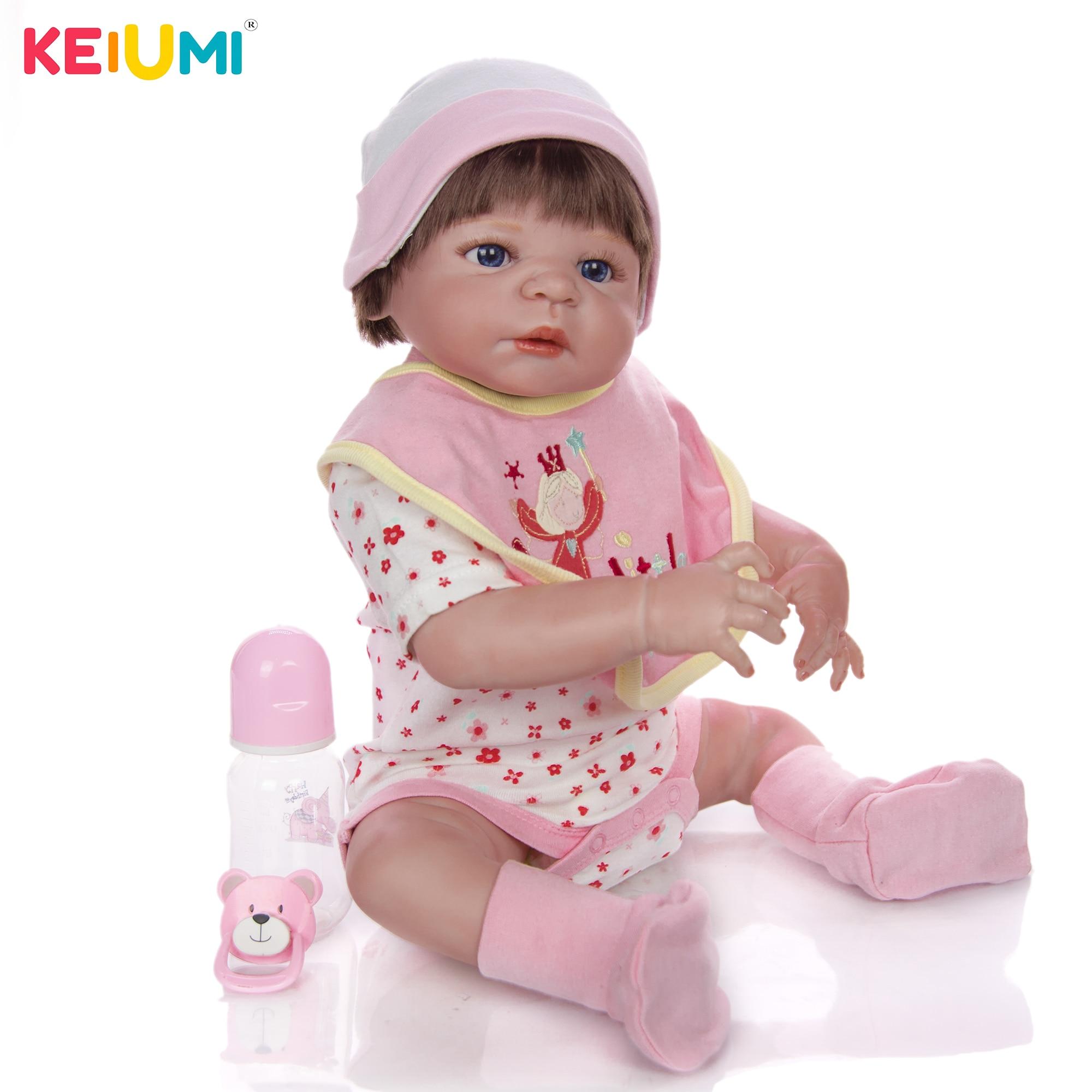 ร่างกายเต็มรูปแบบซิลิโคนไวนิล Reborn ทารกตุ๊กตาสาว 58 ซม./23 นิ้วที่สมจริงเหมือนจริงของเล่นเด็กคริสต์มาสของขวัญ-ใน ตุ๊กตา จาก ของเล่นและงานอดิเรก บน   1