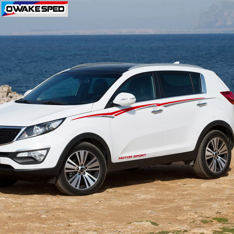 MOTOR SPORT Stripes For KIA SPORTAGE BORREGO Car Styling Waist Lines Sticker Auto Body Accessories Car Protection Vinyl Decal-in Car Stickers from Automobiles & Motorcycles