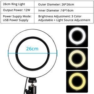 Image 4 - Wielofunkcyjna fotografia 26cm LED Selfie lampa pierścieniowa długie ramię klip uchwyt telefonu makijaż wideo na żywo 3 kolor ściemniana obręcz lampa pierścieniowa