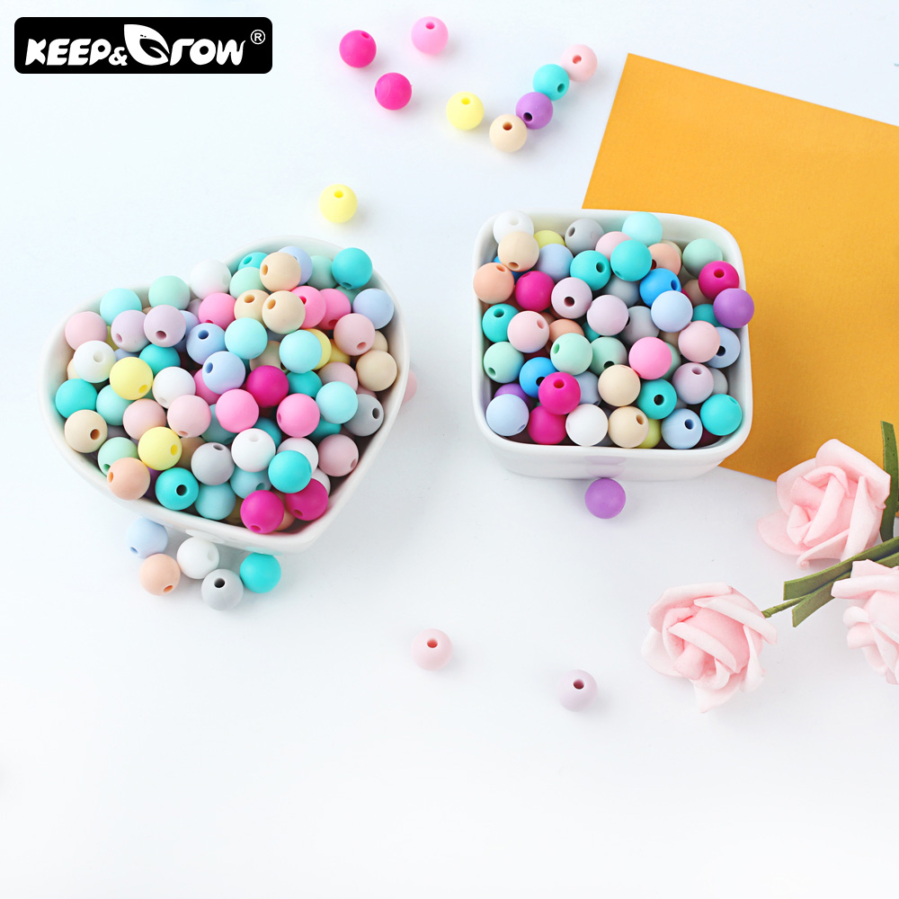 Keep&Grow 20pcs Baby Teethers Silicone Beads 9mm Toddlers Toys Teething Beads Silicone BPA Free For Necklaces Pacifier Holder