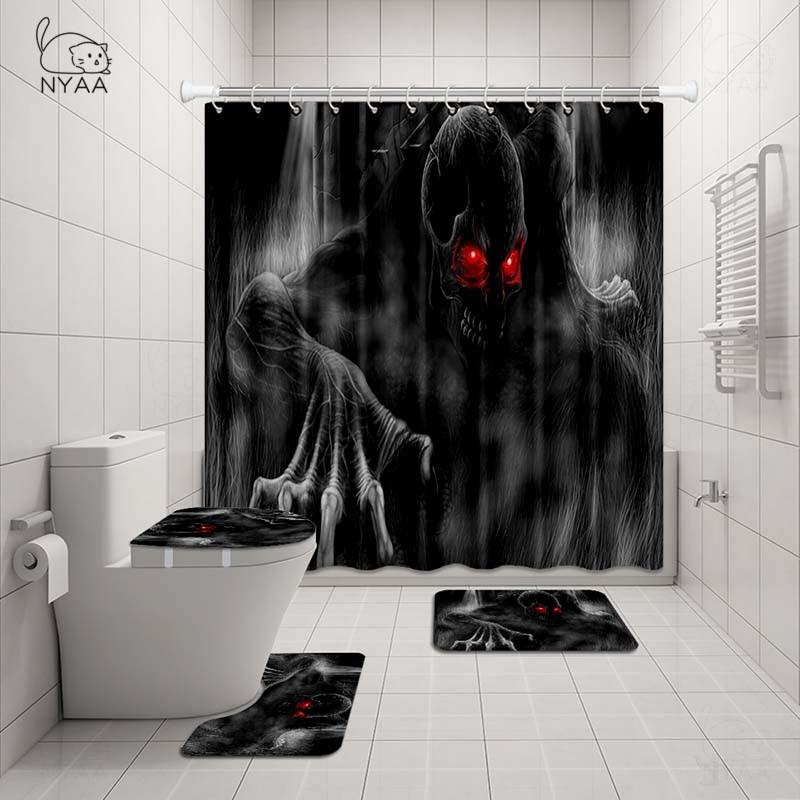 Marilyn Monroe Shower Curtain Bath Mat Toilet Cover Rug Black Bathroom Decor Set