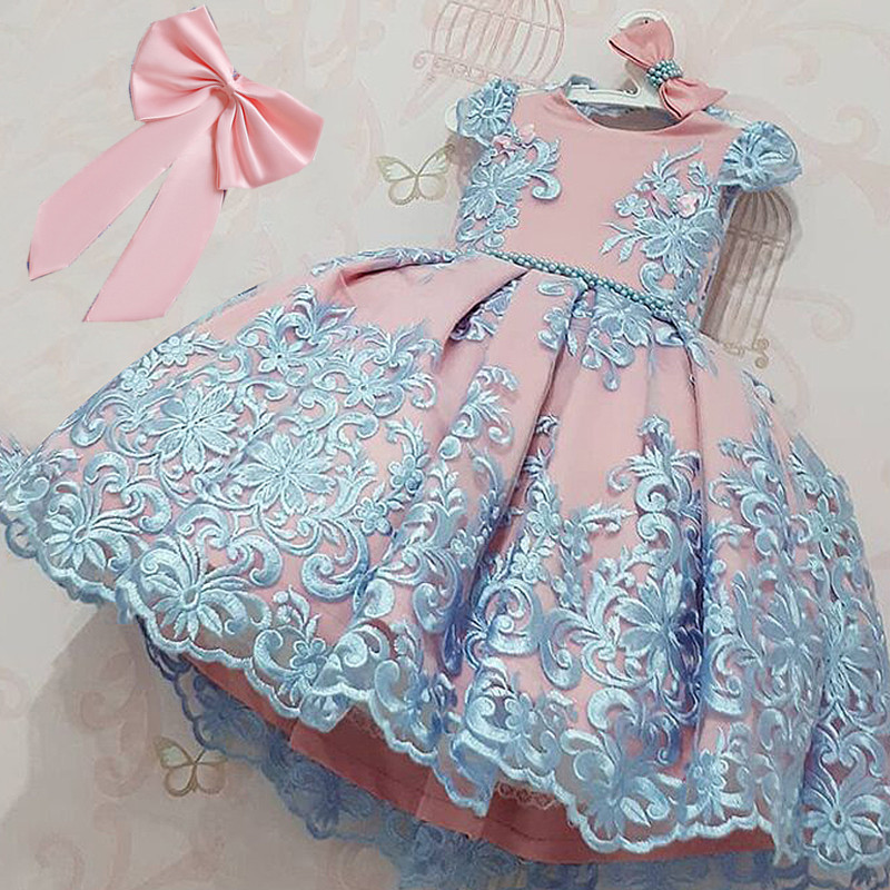 Kids Birthday Princess Party Dress for Girls Flower Bridesmaid Elegant Dress Children Wedding Party Formal Dress Prom Gown 3-10T 5
