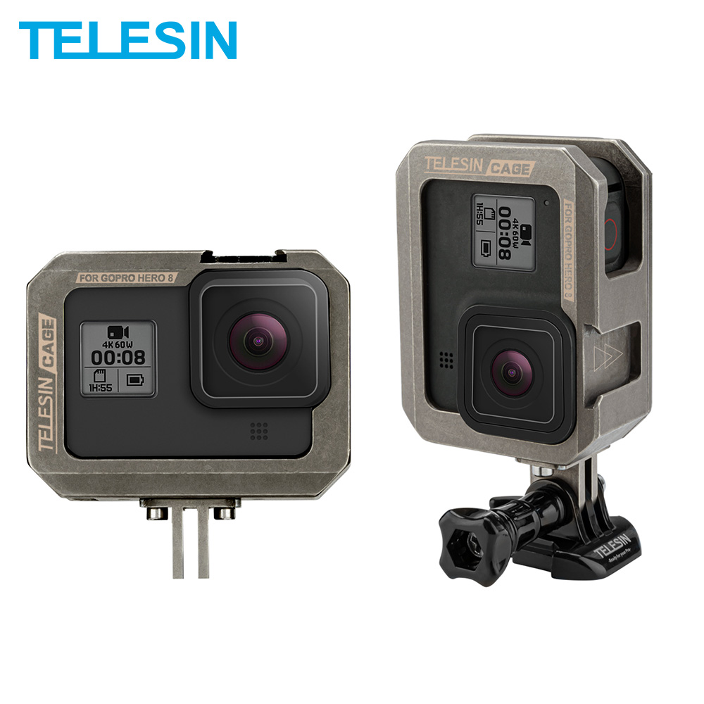 TELESIN Aluminium Alloy Frame Case Vertical Horizontal Cage With Clod Shoe Anti-shock For GoPro Hero 8 7 6 5 Black Accessories