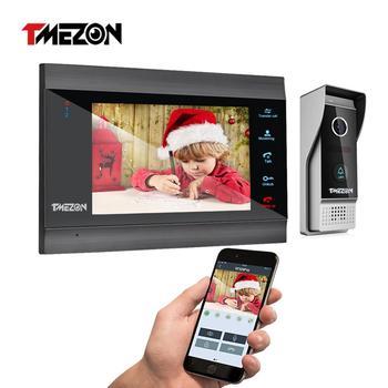 TMEZON Home Intercom System Wireless WiFi Smart IP Video Doorbell 7 Inch with 1x1200TVL Wired Door Phone Camera