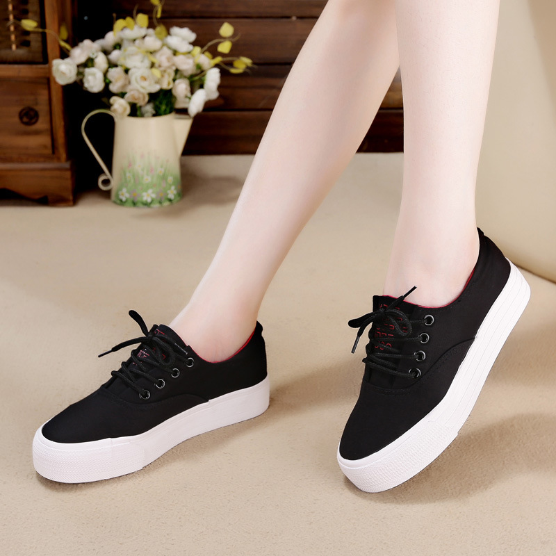Dream Of Spring And Summer Korean-style Platform Canvas WOMEN'S Casual Shoes White Cloth Shoes Flat Thick Bottomed Shoes White S