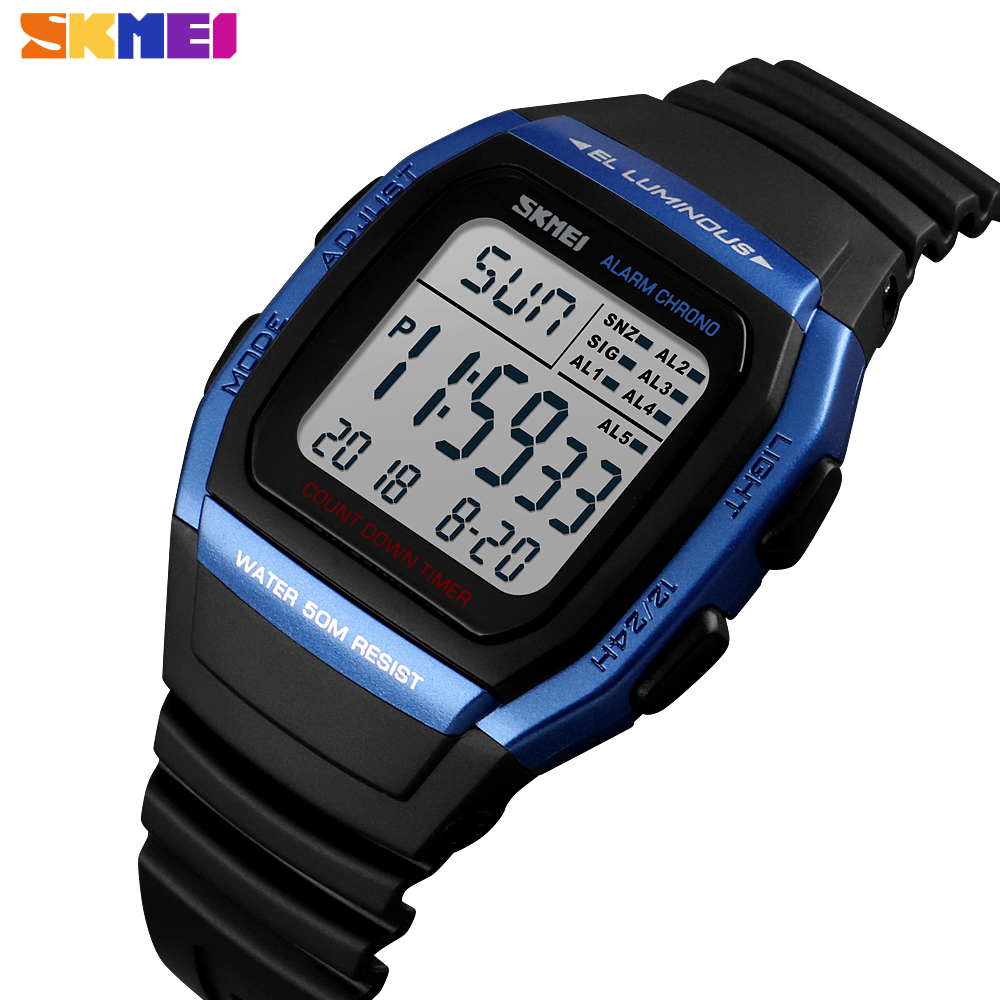 SKMEI Brand Luxury Watches Men Fashion Digital Electronic Clock Sport Waterproof Military Chrono Wristwatch Relogio Masculino