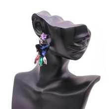 TOTABC Stone Crystal Flower Drop Earrings for Women Fashion Multicolor Rhinestone  Earrings Modern Jewelry Gift pair of charming rhinestone faux crystal water drop earrings for women