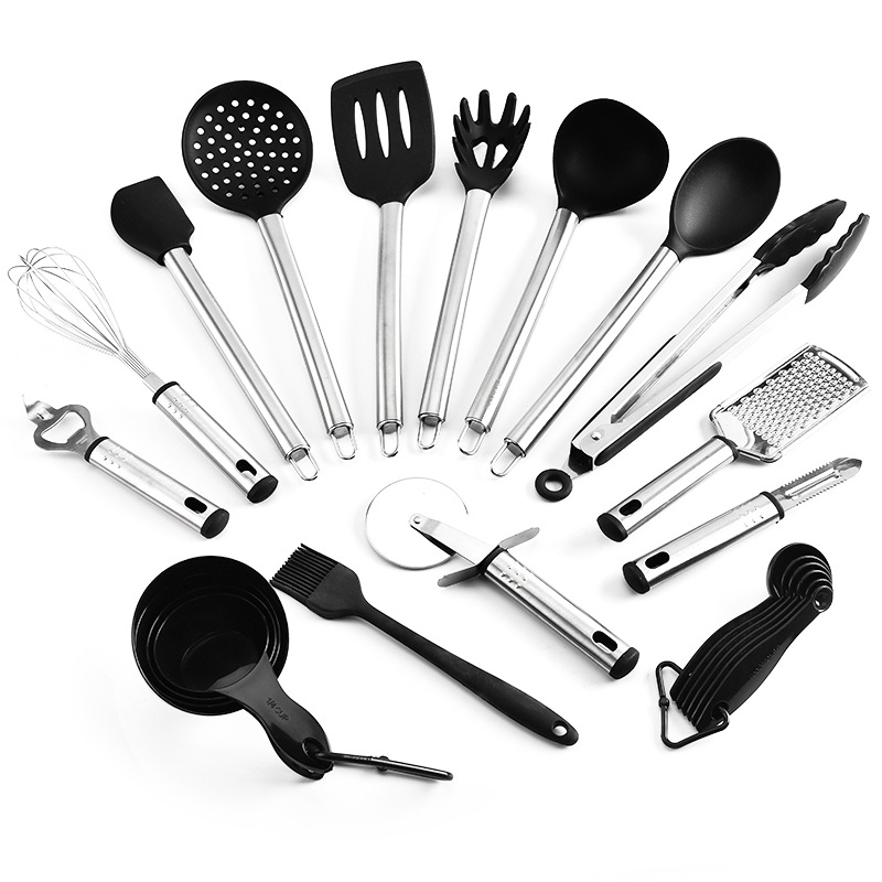 Silicone Kitchenware 15 Piece Set Nonstick Cookware Frying Pan Shovel Soup Colander Face Fishing Kitchen Gadget Kitchen Set|Cooking Tool Sets| |  - title=