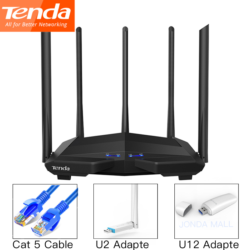 Беспроводной маршрутизатор Tenda AC11, гигабитный двухдиапазонный AC1200 Wi-Fi роутер, ретранслятор 5*6 дБи, антенны с высоким коэффициентом усиления,...
