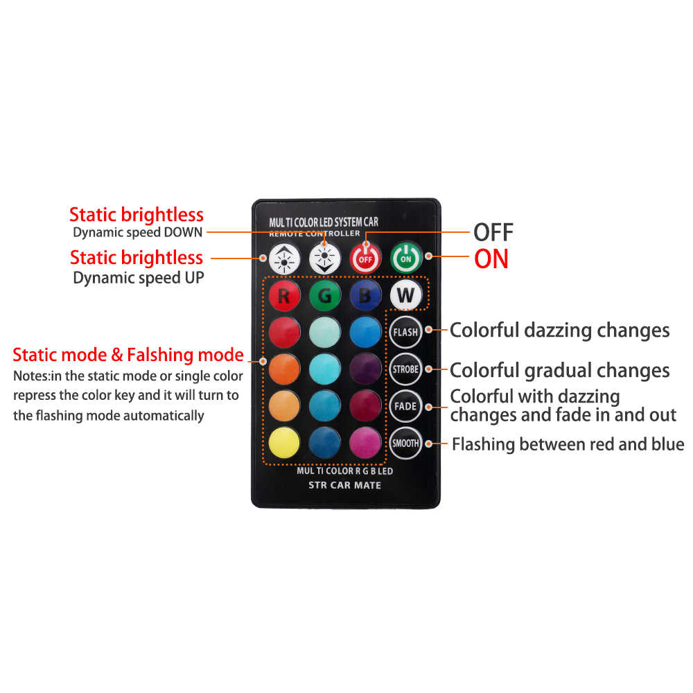 2 Pcs W5W T10 RGB Clearance Lampu Baru Universal Mobil RGB COB 12SMD Warna-warni Multi Mode Mobil Light Bulbs dengan remote Controller