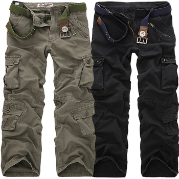 2019 High Quality Men's Cargo Pants Casual Loose Multi Pocket Military Pants Long Trousers for Men Camo Joggers Plus Size 28-40