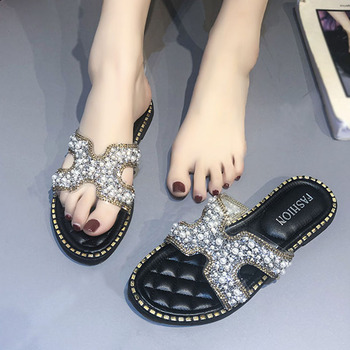 Pearl Embellished Sandals Women Summer Shoes Woman Slides Slippers H Flat Sandals Rhinestones Women's Sandals Large Size 35-43 pearl embellished frill trim top