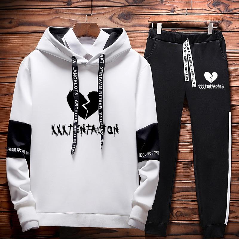 New XXXTentacion Hoodie Sweatshirt + Sweat Pants Two-Piece Men's Women's Hooded Suit Hip Hop Unisex Streetwear Top Warm Suit